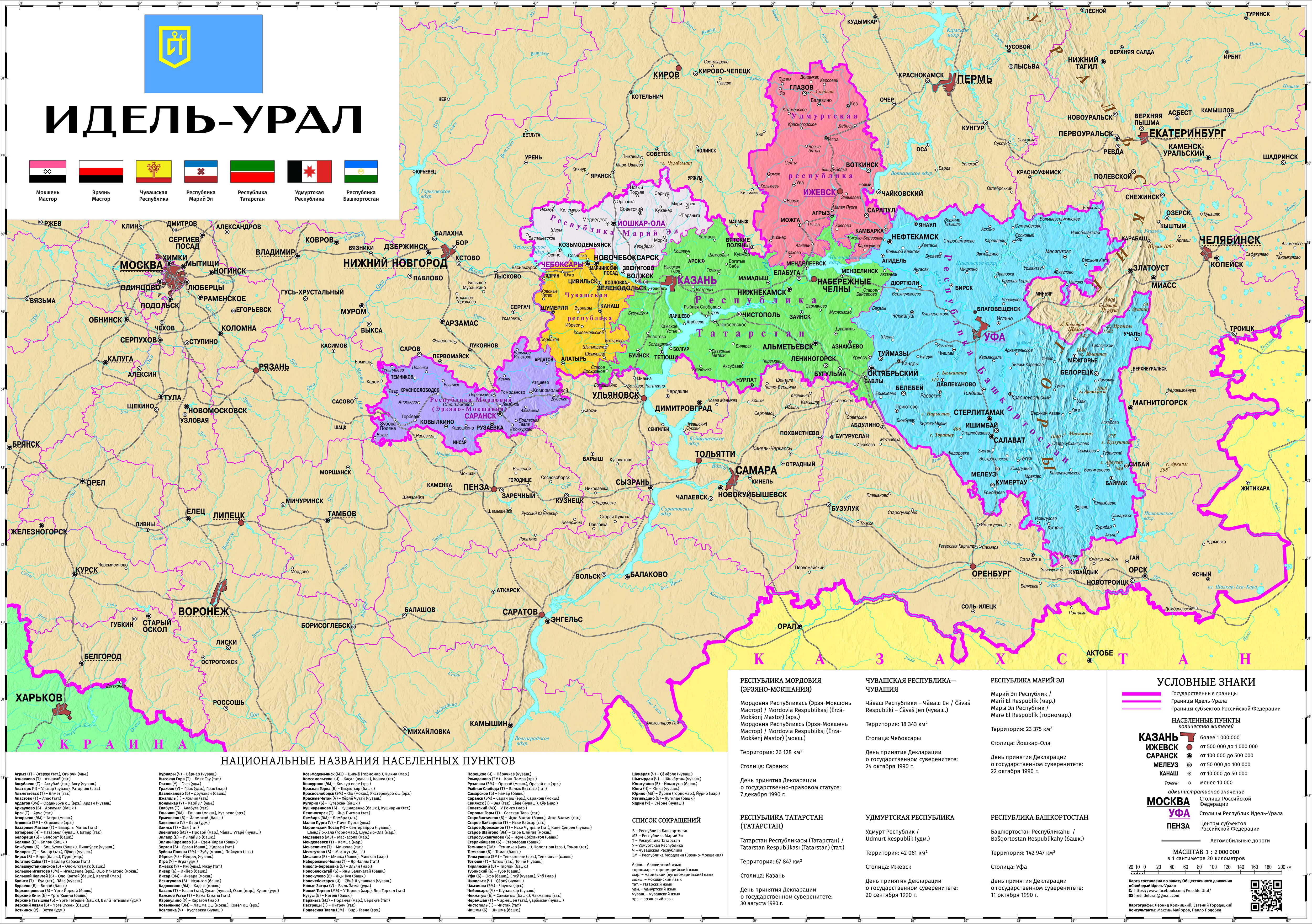 Політична карта Ідель-Уралу