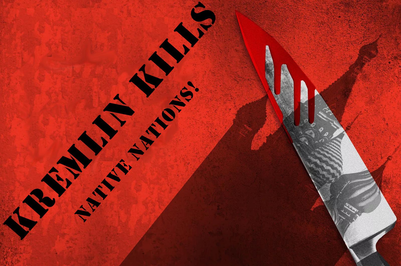 Баннер «Kremlin kills native nations!» (англ. «Кремль уничтожает коренные народы!»)